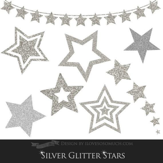 silver glitter stars clip art instant download ca024