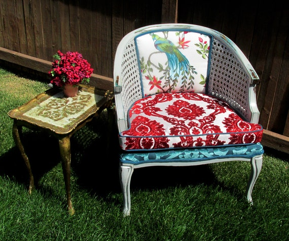 Peacock Cane Accent Chair Teal & Red Chenille with Silk