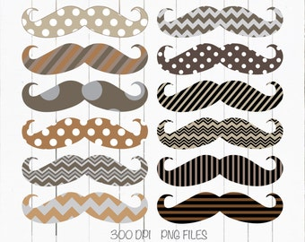 40% Off Mustache Clip Art. Brown, Beige,Traditional style, Polka Dot, Stripe,Chevron, Movember, Scrapbooking - Instant Download.