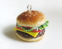Miniature burger necklace, hamburger charm, polymer clay burger, polymer clay food, miniature burger