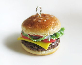 Miniature burger necklace, hamburger charm, polymer clay burger, polymer clay food, miniature burger