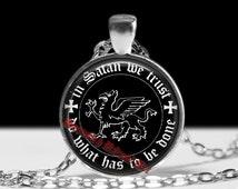Satanic pendant, satanic necklace, satanic jewelry, magic necklace, magic pendant, occult pendant, occult necklace, dragon pendnat 174
