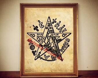 Eliphas Levi's Tetragrammaton print illustration poster | occult print antique rustic church vintage home living room altar decor #152