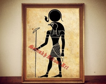 Ancient egyptian God of Sun depiction, RA print illustration poster | occult print, antique rustic vintage home decor, altar 157