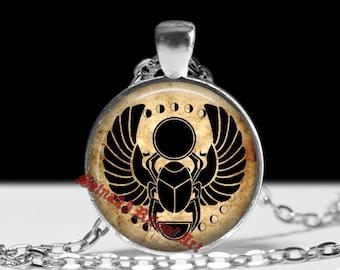 Egyptian pendant, sacred scarab jewelry, beetle necklace #158