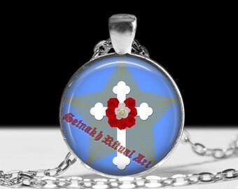 Rosicrucian cross pendant, rose pendant, occult pendant, magic pendant, magic jewelry, occult jewelry, esoteric jewelry, magic amulet #166