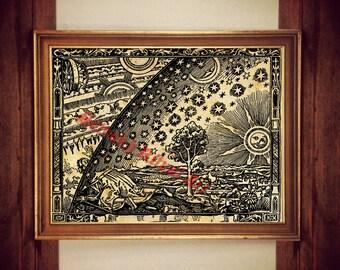 Astrology print, alchemy poster, stars print, sun poster, astrology decor, occult print, antique print, rustic vintage, occult decor 178