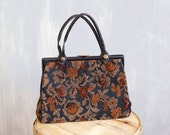 vintage 60s 70s tapestry bag / floral ochre pattern on petrol blue leather / tapestry handbag / fall winter purse / kiss lock clutch closure