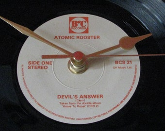 "Atomic Rooster devil's answer  7"" vinyl record clock"