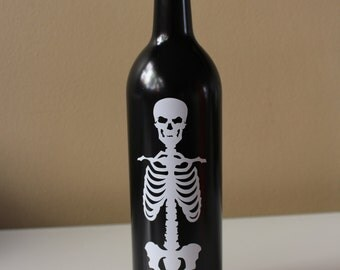 Skeleton Wine Bottle, Halloween Wine Bottle, Halloween Candleholder, Trick or Treat, Up-cycled Wine Bottle