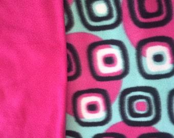 Teal and Hot Pink No Sew Rag Fleece Blanket