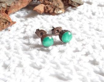 Wooden earrings 5 mm, studs, hand painted ear studs, green earrings (0256)