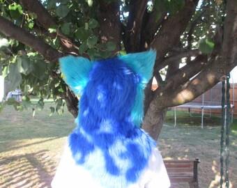 Blue Fur Hood