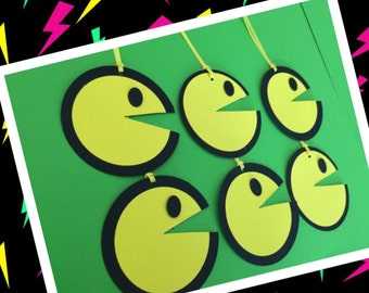PacMan Party Favor Tags, Favor Tags, Reto PacMan Tags , Treat Tags,pacman tags,pacman party decor