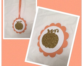 Pumpkin  tags, little pumpkin tags, halloween party decor, birthday tags, halloween tags, gold pumpkin tags,gold party decor, little pumpkin