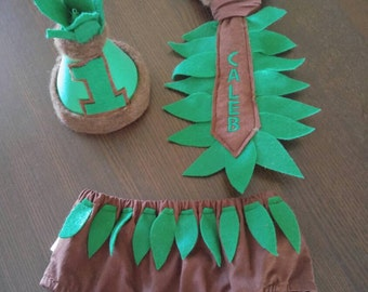 First 1st Birthday Cake Smash Outfit Jungle Safari Brown and Green for Baby Boy