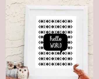 Hello World Design Printable wall art instant download, Print Wall Art,  Bedroom Decor, Nursery Art