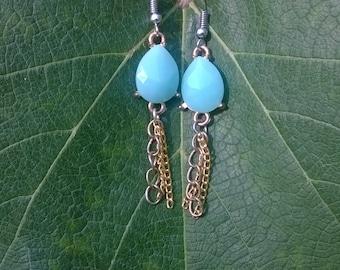 Blue Dangle Up-Cycled Earrings