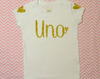 Girls Birthday Shirt:  Scalloped Edge Shirt / Gold Glitter