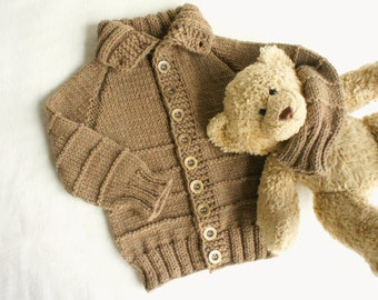 Hand Knitted Baby Cardigan, brown Hand Knitted baby sweater, chanky  boy/ girl sweater with buttons