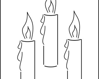 Christmas Stencils 3 x Candles Stencil - Wall Art Stencil in reusable Mylar, wall art, small to large stencils up to 19.5 x 27.5 inches.