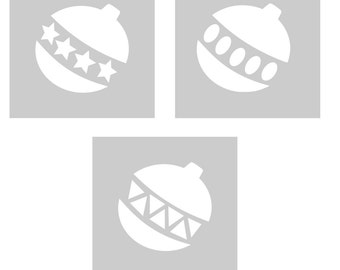 Christmas Bauble Cookie, Biscuit, Cake, Cupcake, Pancake Stencils - Stencil Set, Washable , Reusable - 2.5 Inch x 2.5 Inch