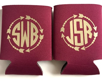 Garnet and Gold, Florida State Inspired Can Holder, Cozy, Cosy, Cozies, Monogram, Tailgating, Arrowhead, Seminoles, Garnet Gold