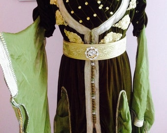 Moroccan Kaftan Dress Wedding Green and Gold 3 pieces