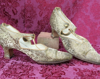 SALE!  1920's Gold Lame Brocade Shoes