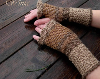 Crochet fingerless gloves, autumn gloves, gift for her, fingerless mittens,  hand knit fingerles, arm warmers, boho mittens, knitted gloves