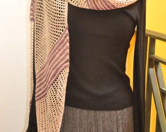 Hand knit Mesh Scarf or shawl merino wool