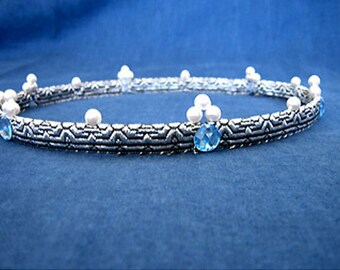 Silver circlet with beads Elf bride middle ages