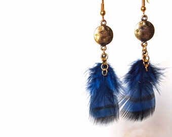 Earrings - Partridge feathers - round pattern gold