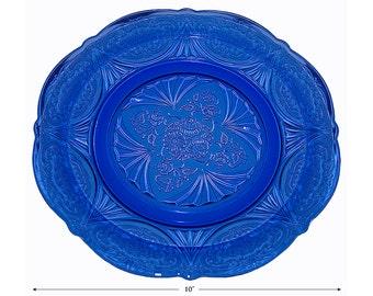 Hazel Atlas Royal Lace Cobalt Blue Dinner Plate