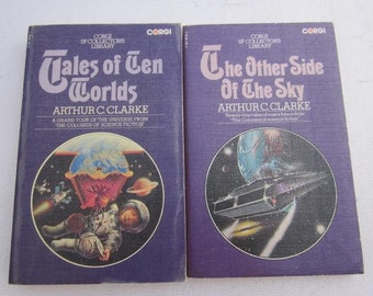 1975 ARTHUR C. CLARKE Tales of Ten Worlds Plus The Other Side of The Sky Vintage Corgi Paperback Science Fiction Sci Fi x 2