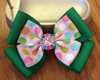 """Big Green And Pink Polkadot Hair Bow. 5""""."""