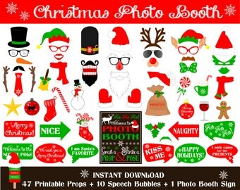 PRINTABLE Christmas Photo Booth Props–Printable Christmas Photo Booth Sign-Santa,Rudolph,Snowman,Elf, Christmas Printable - Instant Download