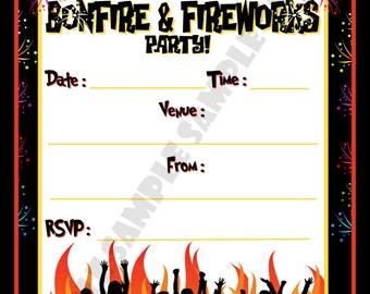 Bonfire & Fireworks Party Invites / Invitations