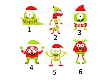 Monsters Christmas Stickers