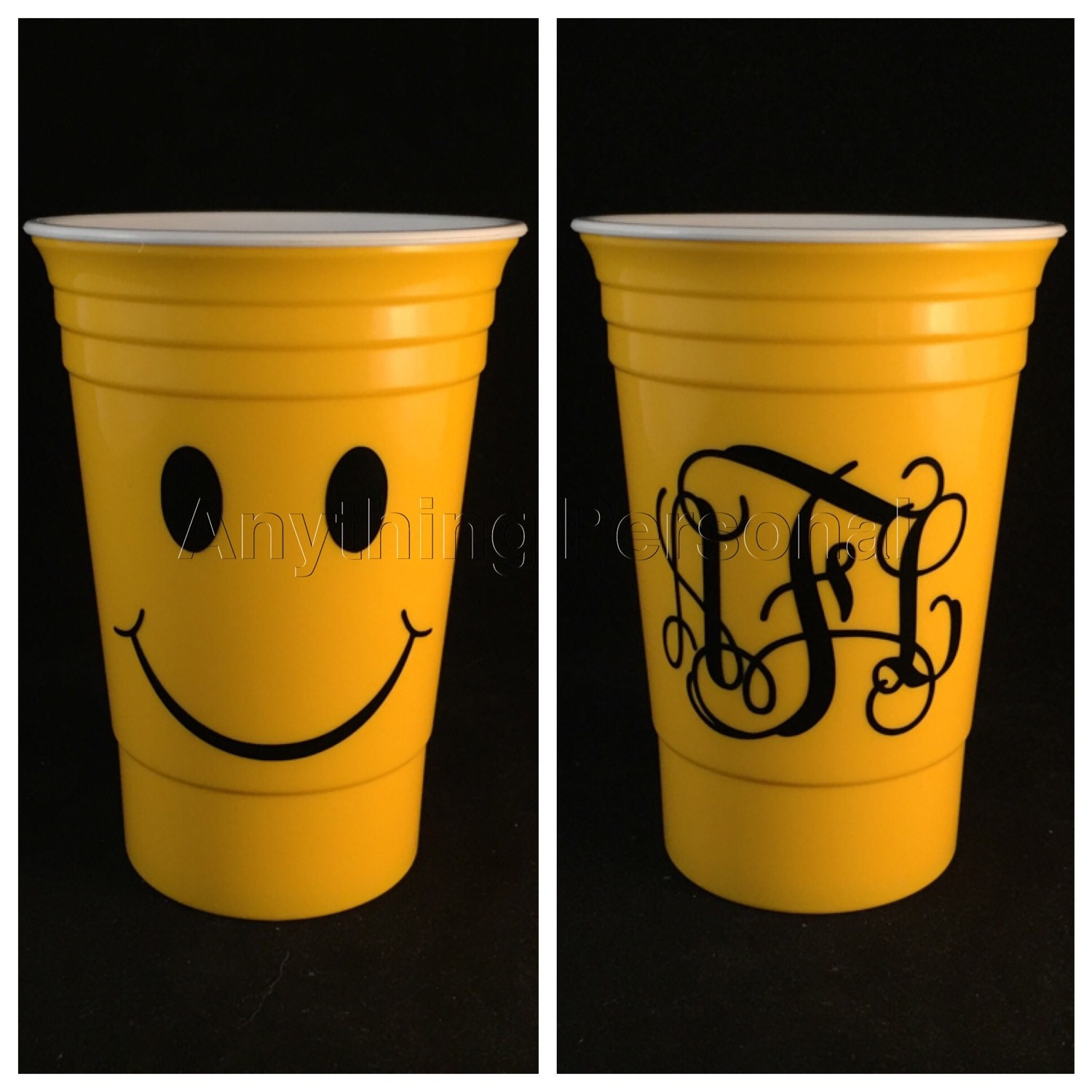 Personalized Solo Cup Smiley Face Cup Monogram Solo Cup