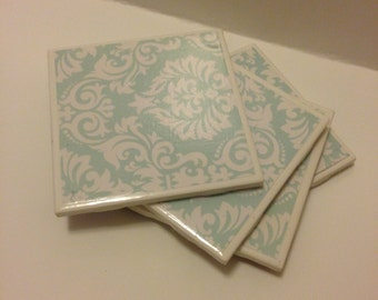 Light Blue and White Paisley Coasters
