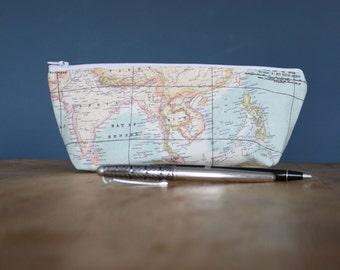 World Map Pencil Case/ Make up Bag