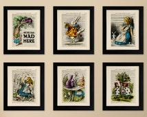 Set of 6 Art Prints on old antique book page - Alice in Wonderland, Vintage Upcycled Wall Art Print, Encyclopaedia Dictionary Page, Fab Gift