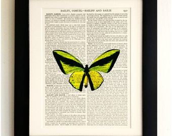 ART PRINT on old antique book page - Large Yellow Butterfly, Vintage Upcycled Wall Art Print, Encyclopaedia Dictionary Page, Fab Gift!