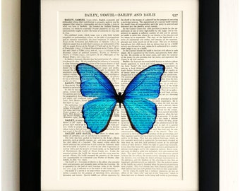 ART PRINT on old antique book page - Large Blue Butterfly, Vintage Upcycled Wall Art Print, Encyclopaedia Dictionary Page, Fab Gift!