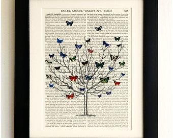 ART PRINT on old antique book page - Tree with Butterflies , Vintage Upcycled Wall Art Print, Encyclopaedia Dictionary Page, Fab Gift!