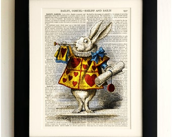 ART PRINT on old antique book page - Alice in Wonderland, White Rabbit, Vintage Upcycled Wall Art Print, Encyclopaedia Dictionary Page, Gift