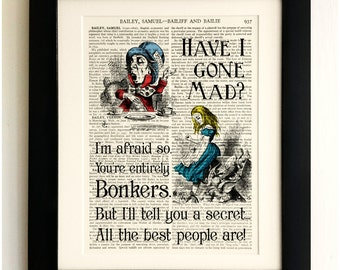ART PRINT on old antique book page - Alice in Wonderland, Mad Hatter, Vintage Upcycled Wall Art Print, Encyclopaedia Dictionary Page, Gift