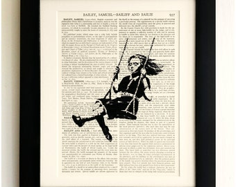 ART PRINT on old antique book page - Banksy, Girl on Swing, Vintage Upcycled Wall Art Print, Encyclopaedia Dictionary Page