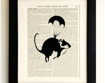 ART PRINT on old antique book page - Banksy, Parachuting Rat, Vintage Upcycled Wall Art Print, Encyclopaedia Dictionary Page
